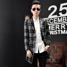 Male 2017 spring outerwear fashion handsome houndstooth medium-long trench personality outerwear The singer's clothing M-3XL
