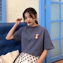 Womens summer new Korean version of the large size loose wild short-sleeved trend street hip-hop fashion girls T-shirt