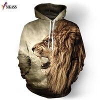 Brand MKASS Animal Lion 3D Printed Sweatshirts Men Woman Hoodies Fashion Leisure Loose Thin Hooded Hoody