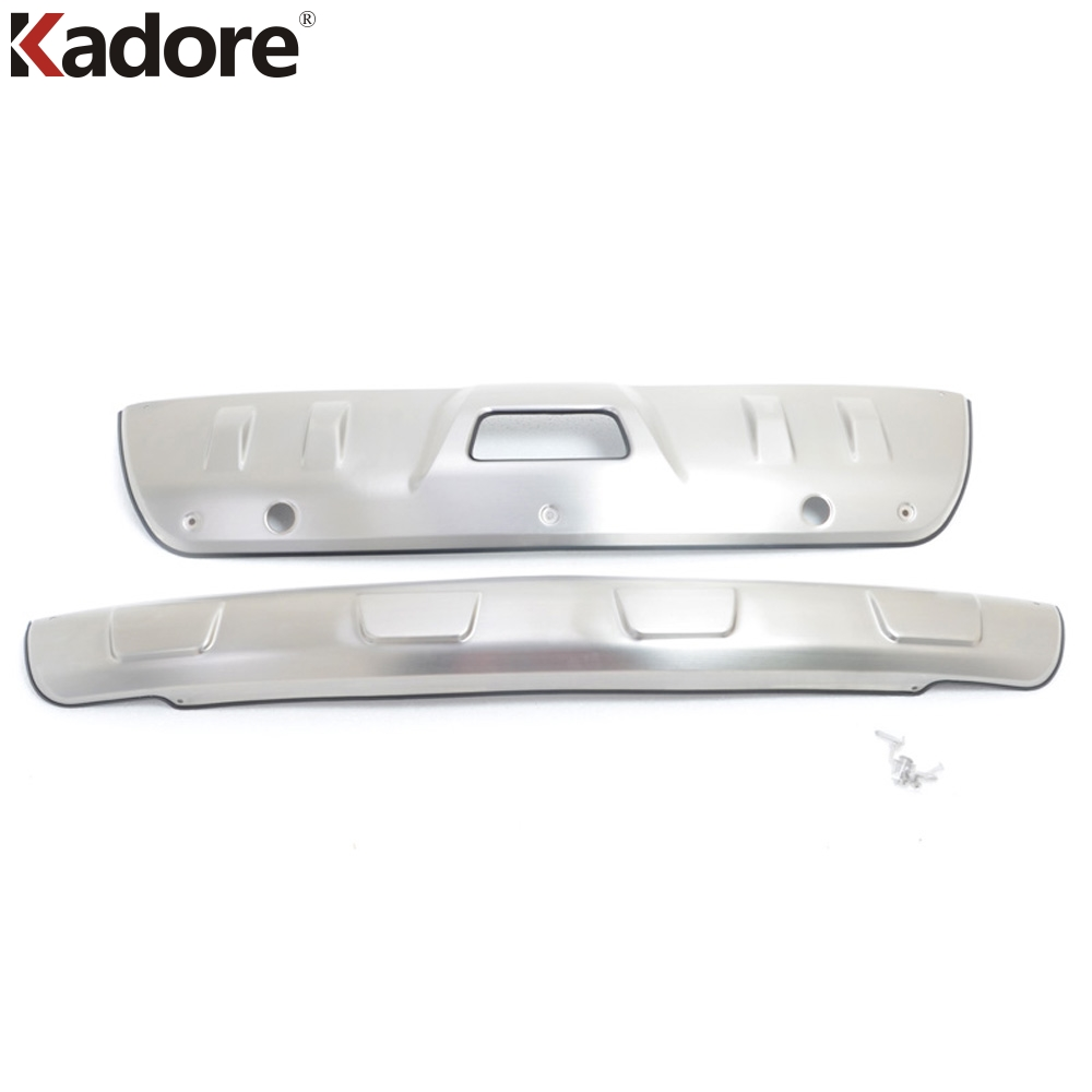 For Nissan X-TRAIL 2014 2015 2016 2017 Front + Rear Bumper Protector Skid Plate Cover with hole Stainless Steel Car Accessories rogue stainless steel rear bumper protector sill trunk guard cover trim for 2014 2016 nissan x trail x trail t32 car accessories