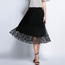 5XL women skirts black european plus size lace print mid-calf casual fashion solid england office lady skirt big size