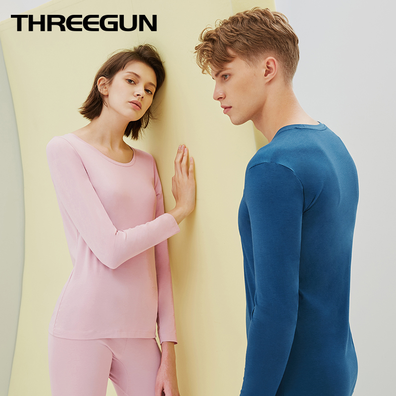THREEGUN Long Johns Winter Thermal Underwear Sets Anti microbial Stretch Mens Thermo Underwear MODAL O Neck