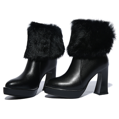 Platform Round Toe Ankle Boots Autumn And Winter Martin Boots Winter Boots Ultra High Heels Rabbit Fur Women's Shoes Boots H4962