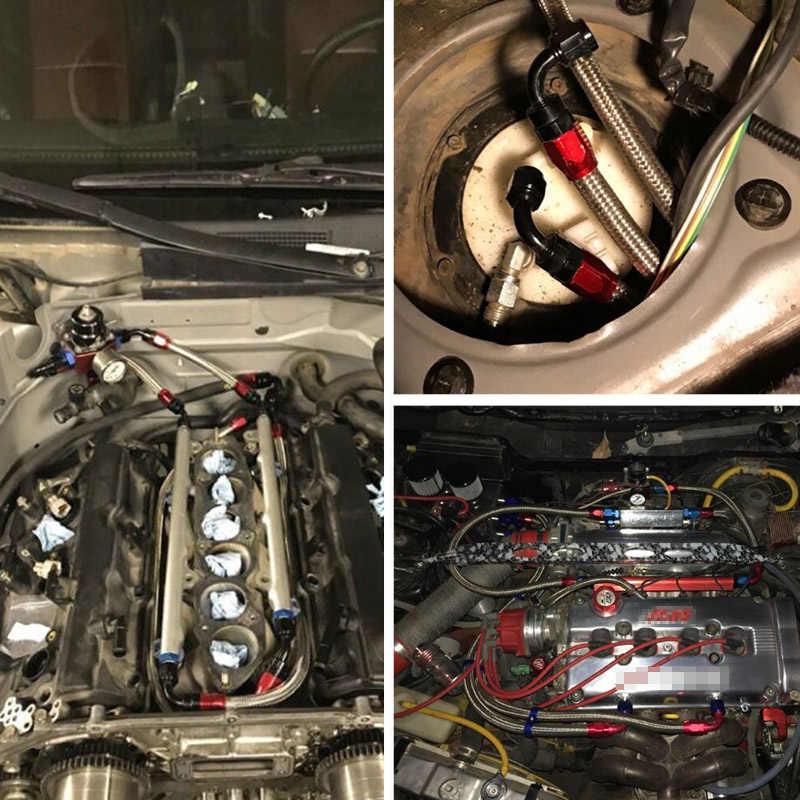 Evil energy AN6 huile carburant Nylon tressé 1 mètre ligne de tuyau + AN6 droite 180 degrés raccords en aluminium extrémité de tuyau avec clé