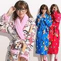 Roupão de Cetim Robe Fille Das Mulheres longas Do Inverno Solta de Manga Comprida Camisola Coral Fleece Vestes Kimono Plus Size Dama De Honra