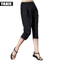 2017 Summer High Waist Pants Capri Women Plus Size Elastic Waist Black White 4XL Harem Pants