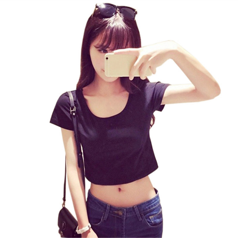Fashion Women Casual Crop Top Solid T-shirt Sexy Cropped Short Sleeves O-neck Loose T-shirts Tops FS99