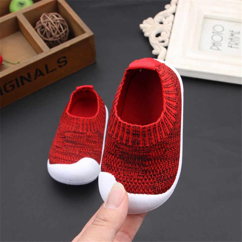 Primavera/Outono Da Menina do Menino Da Criança Sapatos Infantis Sapatilha Ocasional Macio E Confortável Tecidos Stretch Respirável Sapatos de Bebê Primeiros Caminhantes