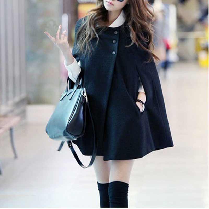 Women Black Color Batwing Wool Poncho Winter Warm Coat Loose Cloak Coats   Trench   Triple Breasted Lady Outwear