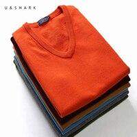 U & SHARK осень без рукавов шерстяной свитер мужской высокое качество чистый цвет мужской s v-образный вырез свитер брендовая одежда Приталенны...