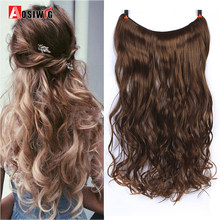 AOSIWIG Synthetic Hidden Invisible Not Clip In Headband Straight High Temperature Fiber 22'' Flip On Wire In Hair extension(China)