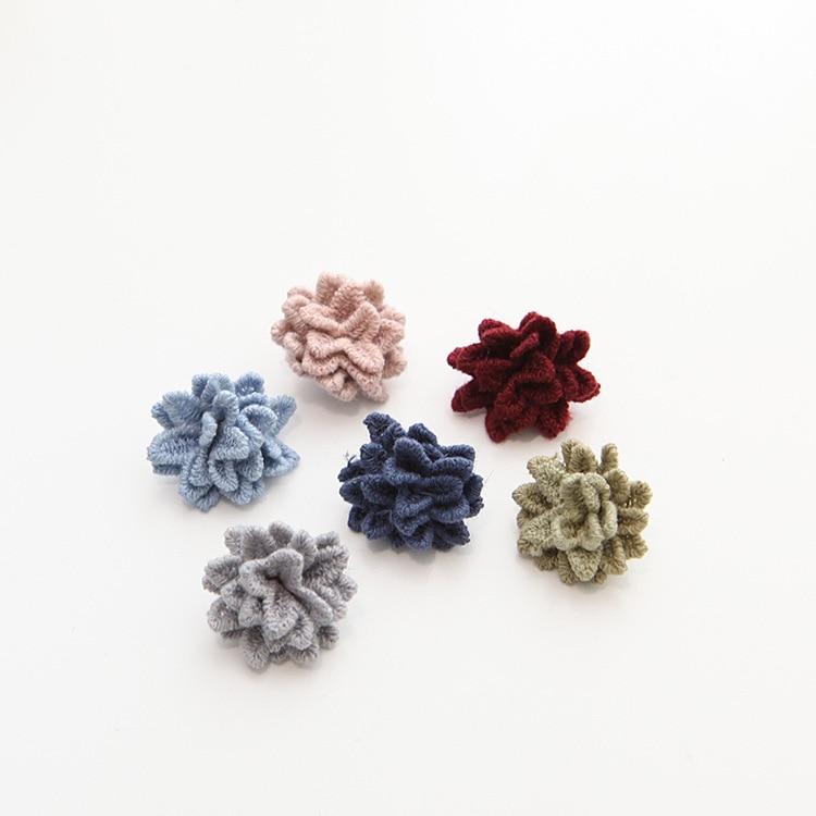 small cute Hair Flowers woolen Fabric Flowers Flat Back Artificial Fabric Flowers For Headbands