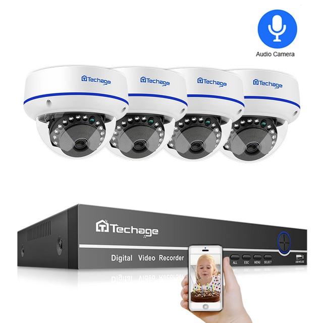 Techage 4CH 1080 P אבטחת בית 2 TB HDD NVR 4 pcs POE טלוויזיה במעגל סגור מצלמה מערכת 2MP אודיו קול חיצוני IR ראיית לילה ערכת מעקב