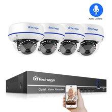 Techage 4CH 1080P Home Security 2TB HDD NVR 4pcs POE CCTV Camera System 2MP Audio Sound Outdoor IR Night Vision Surveillance Kit