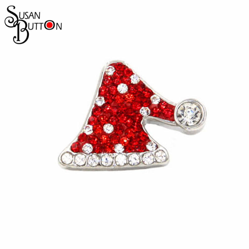 Silver Plated White & Red Christmas Hat Snap Button charms 18mm Metal Susan Button Interchangeable Ginge Charms Jewelry SB239