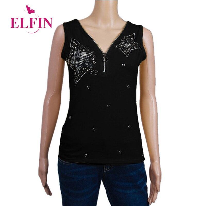 Femmes T-shirts Sans Manches S-5XL Plus taille Perles Diamont 2018 D'été Femme T-top Mujer Tunique Zipper Casual Vêtements WS9844R
