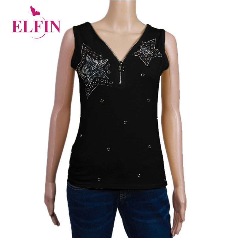 Mujeres camisetas sin mangas S-5XL más tamaño abalorios Diamont 2018 verano Mujer camiseta Mujer túnica cremallera ropa Casual WS9844R