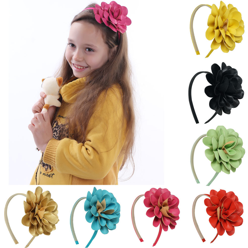 2Pcs/lot High Quality Girls Sweet DIY Hairbands Leather Big Flower For Kids Girl With Teeth Band Princess Hair Accessories 10pcs lot high quality hair band with grosgrain ribbon flower for girls handmade flower hairbow hairband kids hair accessories
