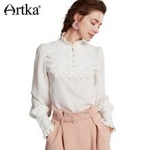 Artka Autumn Chiffon Blouse Women's Shirt 2018 Long Sleeve Shirt Female Vintage White Blouse Plus Size Women Lace Blusa SA10475Q