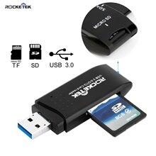 Rocketek высокого качества usb 3,0 multi 2 в 1 устройство чтения карт памяти Адаптер для SD/TF micro SD pc ноутбук аксессуары.