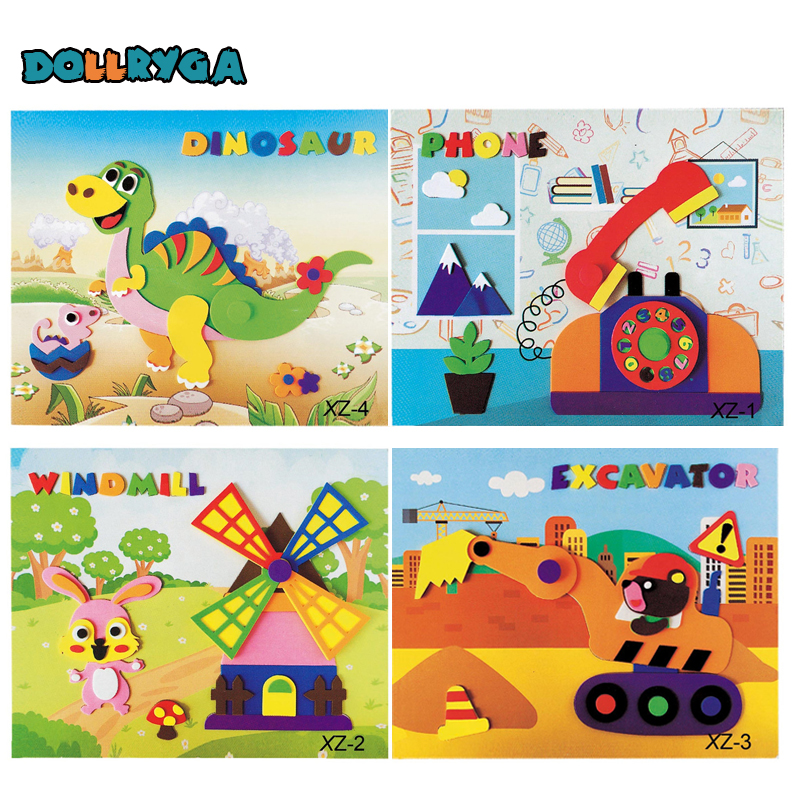 4 sets DIY Applique Kids Rotating Sticker Handmade Non-woven Cloth Cartoon Animal Rotating Painting Art CraftGift Soft EVA Toys