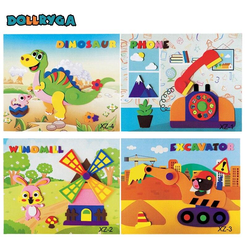 4 Sets DIY Applique Kids Rotating Sticker Handmade Non-woven Cloth Cartoon Animal Rotating Painting Art CraftGift Soft EVA Toys
