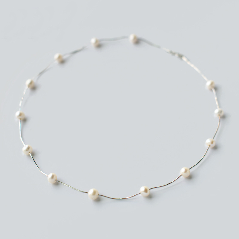 2019 New 925 Sterling Silver Pearl Necklace For Women 4-5mm White Natural Freshwater  Jewelry