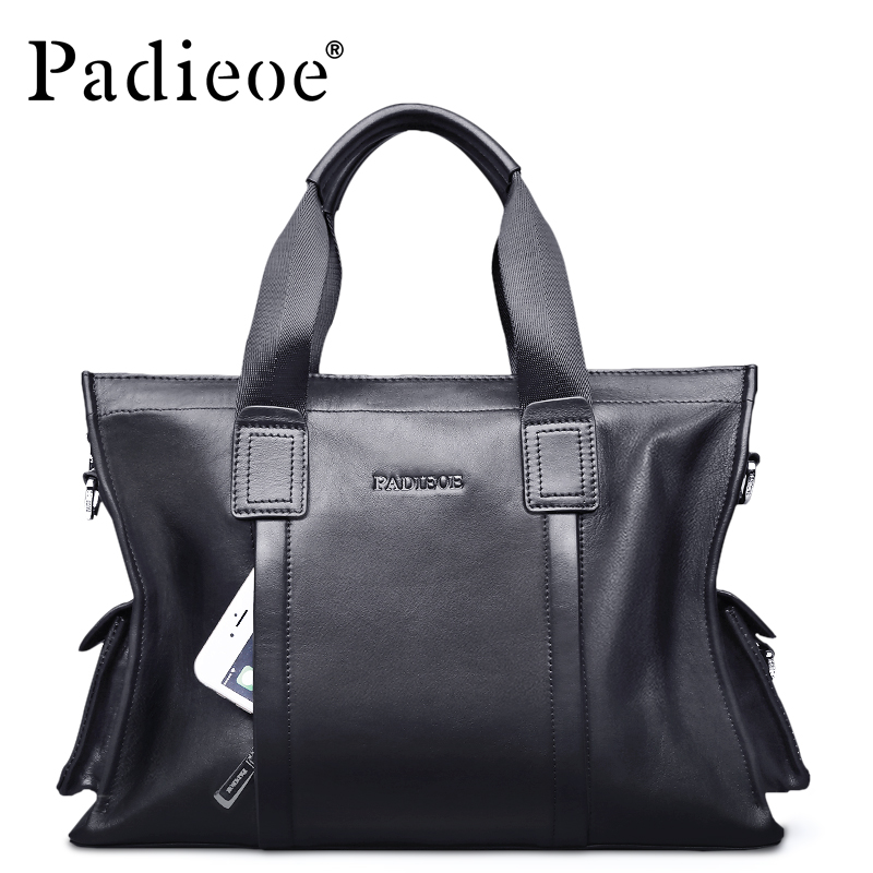 Padieoe Luxury Famous Brand Men Bag Genuine Leather Handbag Business Male Shoulder Bags padieoe fashion luxury designer brand men bag genuine leather handbag business male shoulder messenger bags