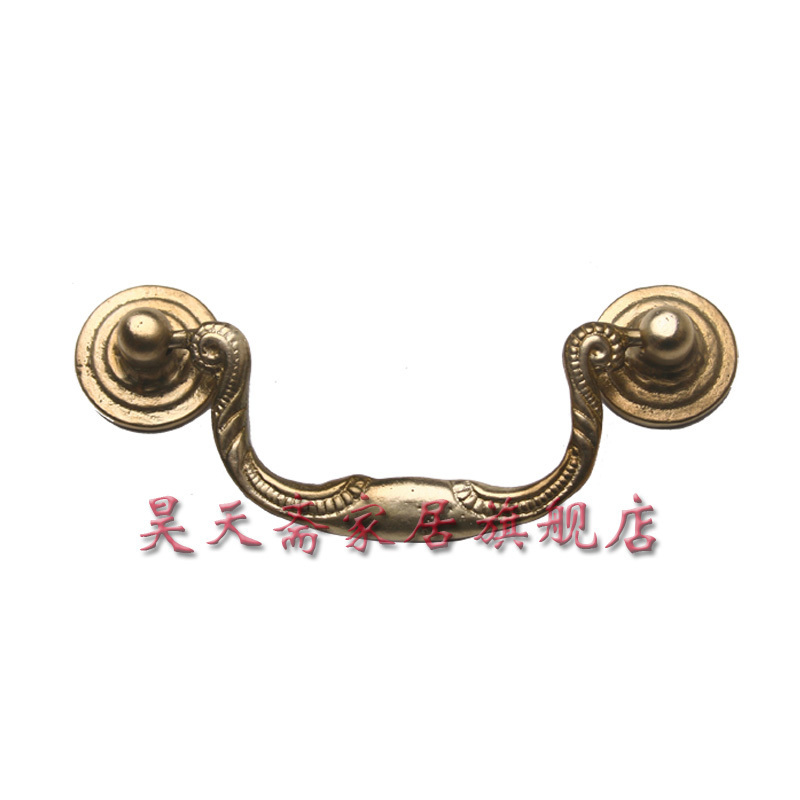 ФОТО [Haotian vegetarian] antique copper handle Classical / Classical holes handle / drawer cabinet handle HTD-034