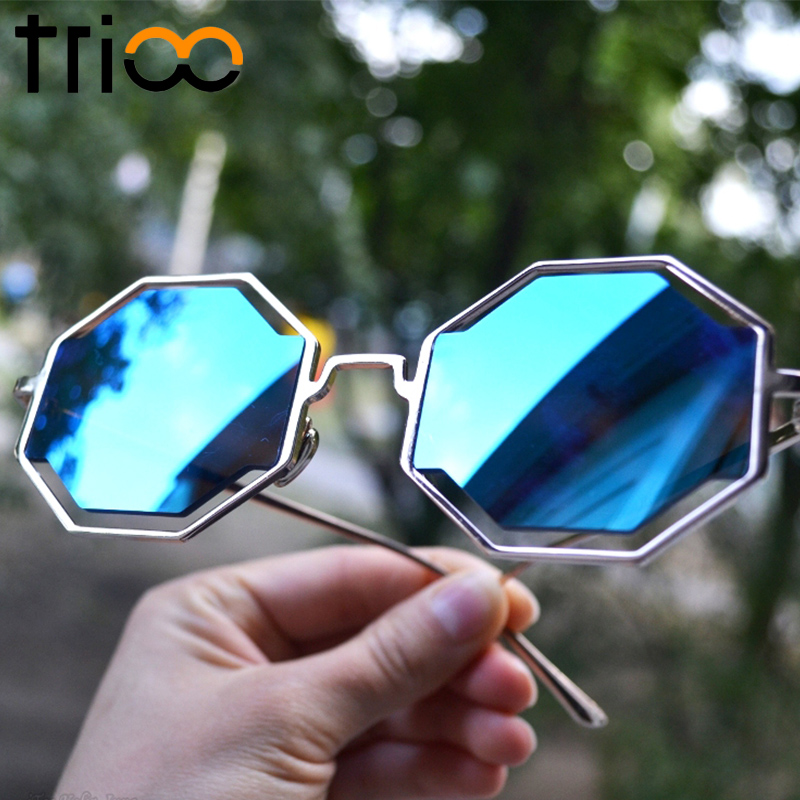 TRIOO Fashion Street Show Polygon Sunglasses Metal Gold Frame Puzzle Design lunette Super Cool Flat Round Pixel Glasses