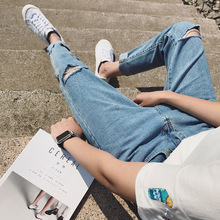 Top quality 2019 spring Autumn Men's short Casual youth  knee Ripped hole loose blasting hip hop streetwear harem pants men top quality 2019 fashion harem pants men ripped knee hole monkey wash washing harem hip hop overalls cargo ankle length pants