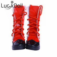 LUCKDOLL 7.5 cm Solid Color High Heel Boots with Cross Straps for fit for 1/3