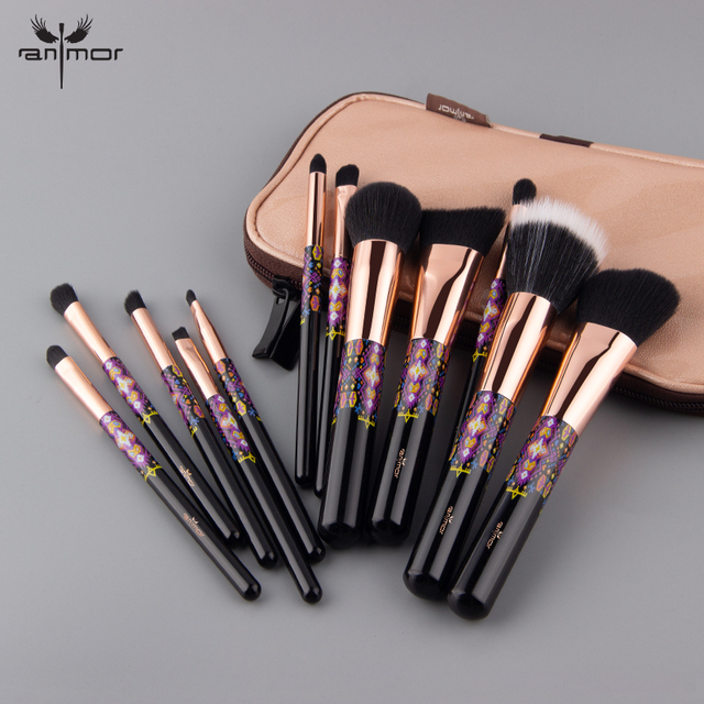 Anmor Soft Makeup Brushes 12 PCS Professional Make Up Brushes Set Foundation Eyeshadow Blush Eyebrow Brush Cosmetics Tool Kit