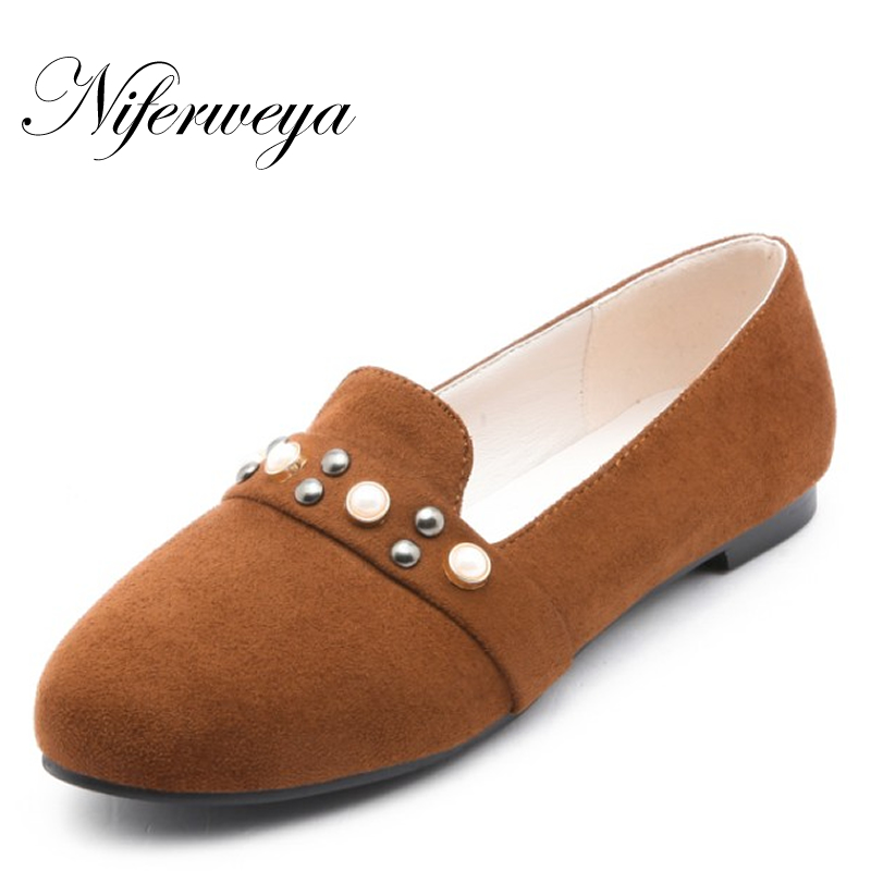New Spring/autumn big size 31-52 Office women flats fashion Round Toe Slip-On Rivet decoration flat shoes zapatos mujer size 32 43 fashion women s flat shoes women slip on round toe square heel flats laies simple casual sweet lace zapatos mujer