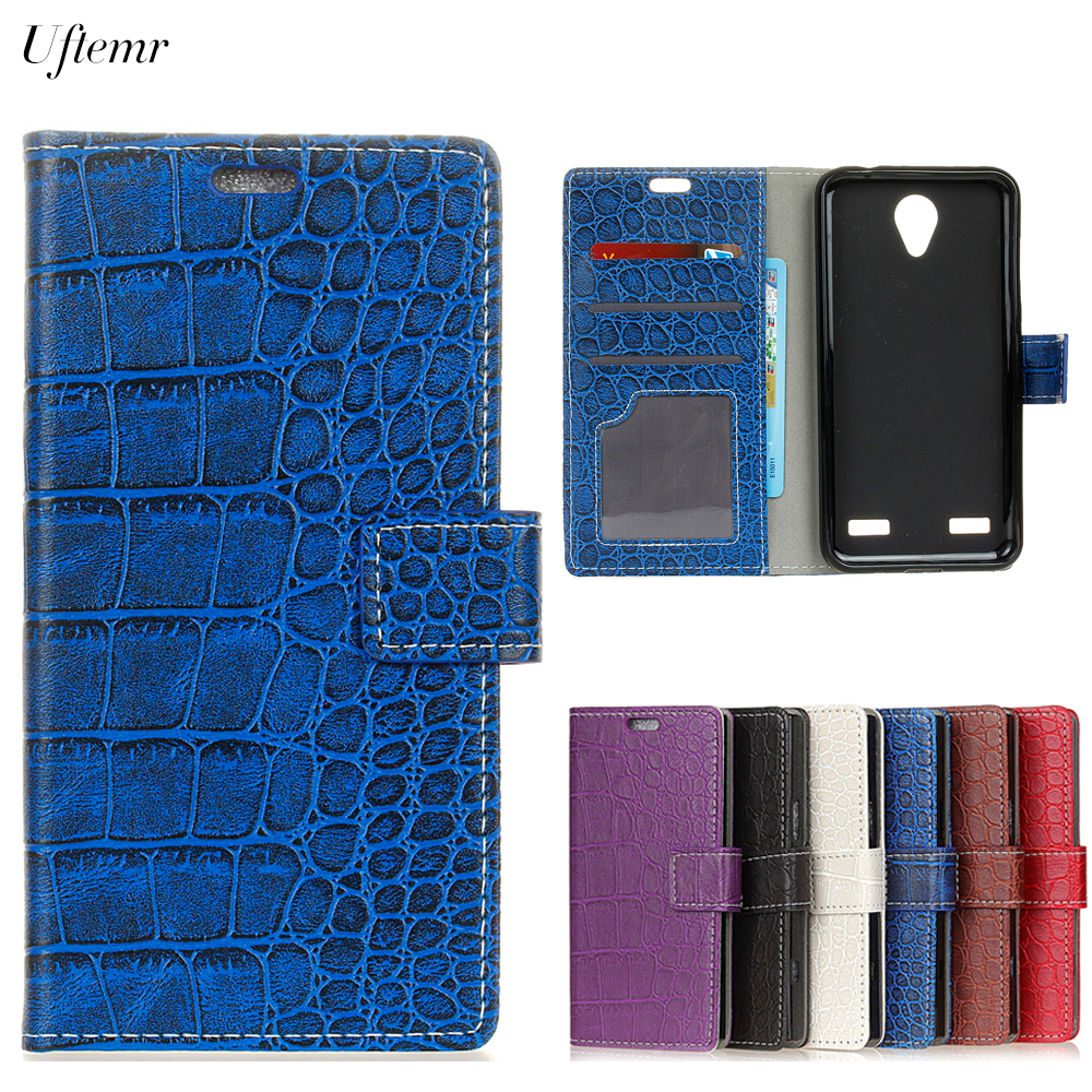 Uftemr Vintage Crocodile PU Leather Cover for ZTE Blade A520 Silicone Case for ZTE Blade A520 Wallet Card Slot Phone Acessories