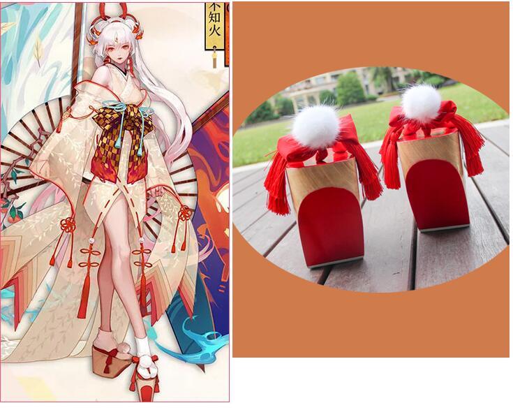 Clogs women Japanese Ancient shoes Geisha slippers Mai Shira cosplay shoes Ahri  10cm