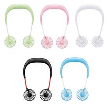 HNGCHOIGE Sport Fan Hands-free Neck Band Hands-Free Hanging USB Rechargeable Dual Fan Mini Air Cooler Summer Portable 0.3-1.2W