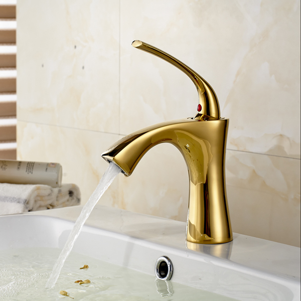 Solid Brass Gold Plated Basin Mixer Water Tap Single Hole Bathroom ...