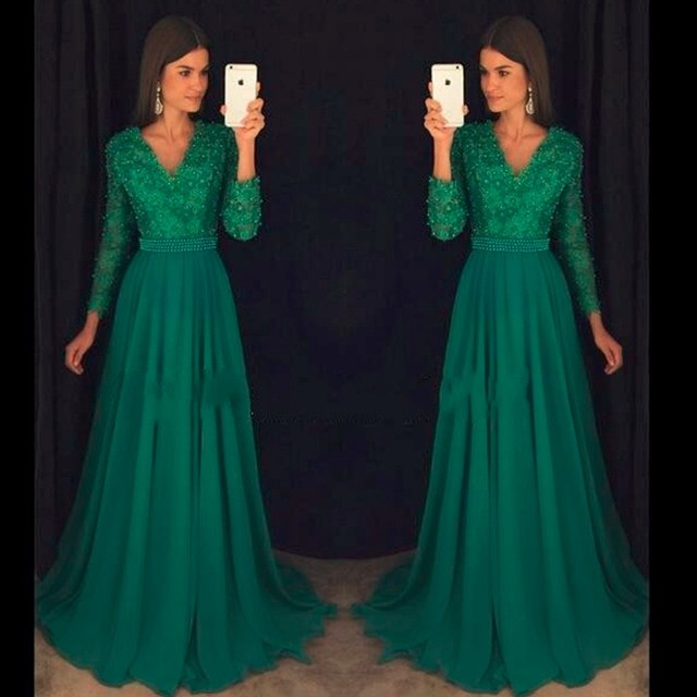 40901ee1a325e 2019 Green Long Sleeves Modest Prom Dresses Long With Sleeves V Neck Pearls  Lace Chiffon A