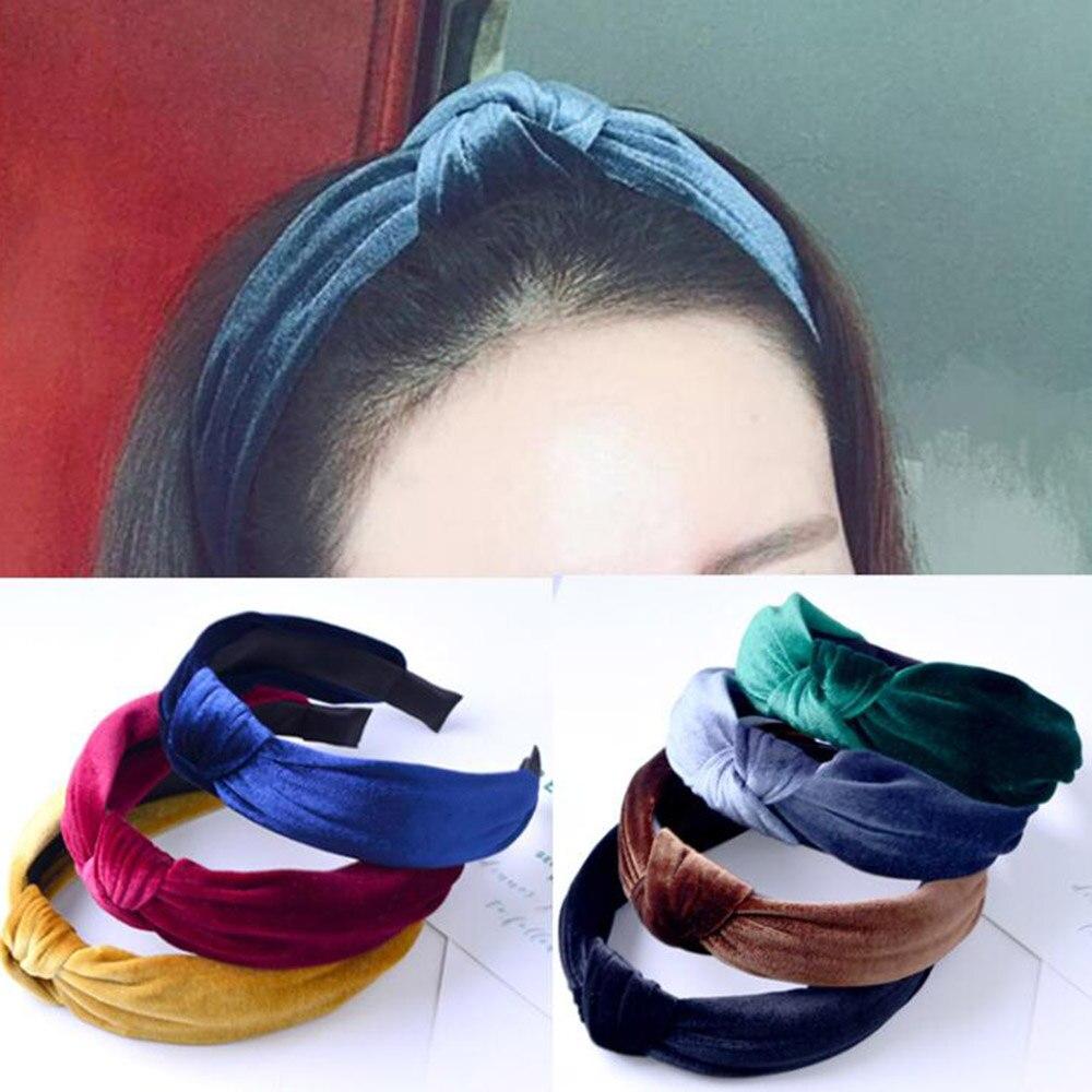 1 PC Knot Cross Tie Solid Fashion Velvet Hair Band Headband Girls Bow Hoop Hair Accessories Twist Headband Headdress for Women
