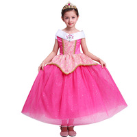 2017 Summer Pink Girl Party Dresses Princess Aurora Sleep Beauty Dress Kids Cosplay Halloween Costumes Long