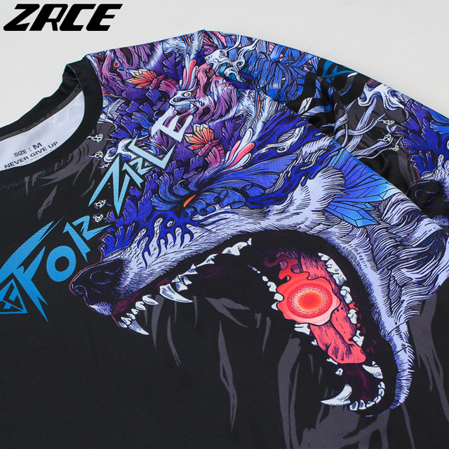 ZRCE 2017 Costume 3d Two Piece Set Wolf Cosplay Plus Size Skinny Men Compression Jerseys Funny T Shirt Fashion Full Men Suits 5