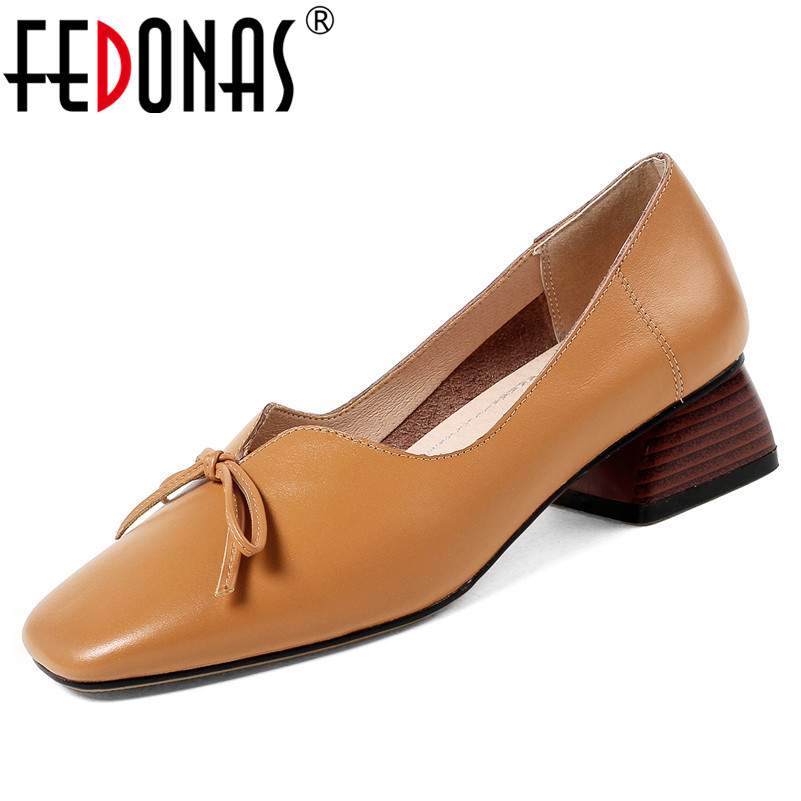 FEDONAS Women Genuine Leather Pumps Summer Fashion Sexy Square Toe Wedding Party High Heeled Shoes Woman Bowtie Office Pumps fedonas sexy pointed toe women genuine leather pumps close toe summer shoes mules high heeled sandals sexy women slippers