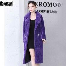 2019 Nerazzurri 冬ダブルブレスト暖かい紫特大ムートンシープスキンスエードレザーコート ロングテディベアリアル羊の毛皮のコートの女性