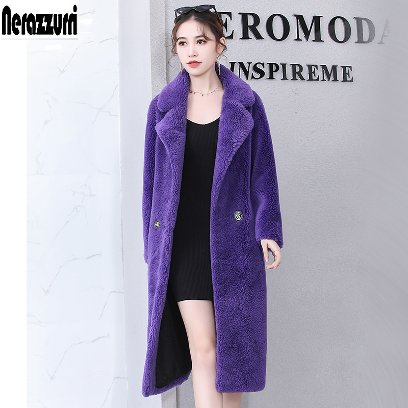 Nerazzurri Long teddy bear real sheep fur coat women 2019 winter Double Breasted warm purple oversized shearling sheepskin coats-in Real Fur from Women's Clothing    1