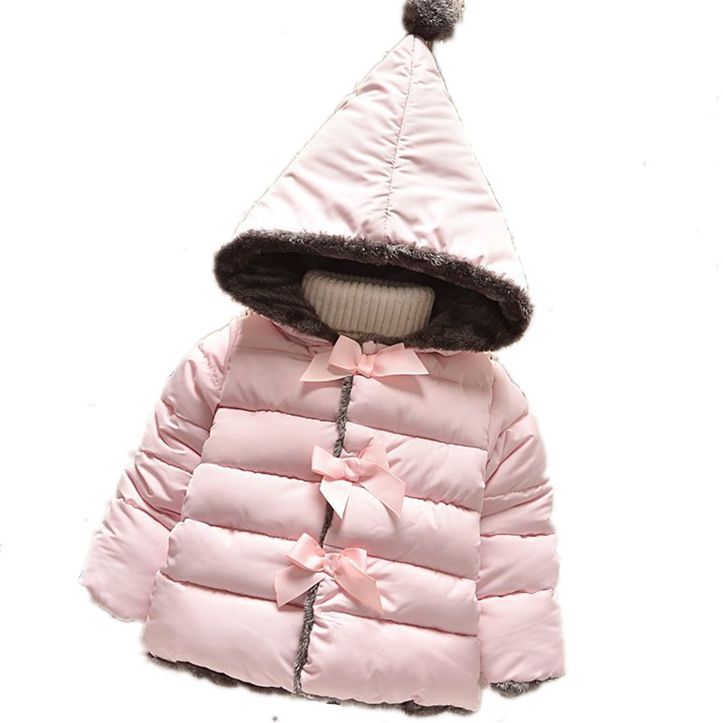 ФОТО Baby Coat Girl 2016 Winter Jacket for Girls Hooded Cotton Coats Warm Thick Children's Outerwear Kids Clothes Infant Clothing