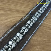 Beaded stone Mesh lace Sewing for Clothing, DIY Embroidered collar Decoration lace Net Cord Beaded Lace Ribbon Tape Beads Lace(China)