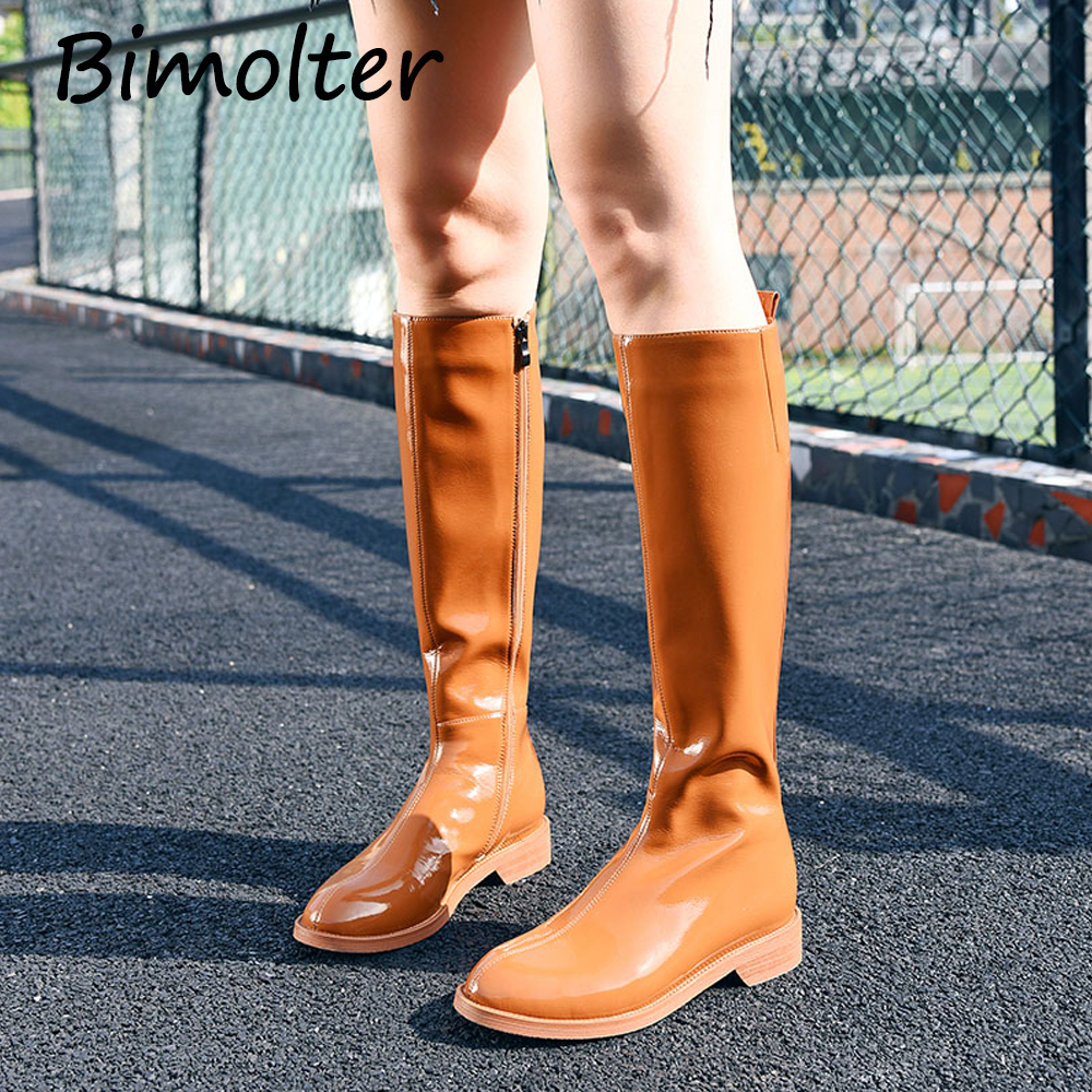 Bimolter Patent Leather Knee Boots Woman Round Toe Square Heel Boots Women Long Boots Black Orange Short plush Spring Boots C013Bimolter Patent Leather Knee Boots Woman Round Toe Square Heel Boots Women Long Boots Black Orange Short plush Spring Boots C013