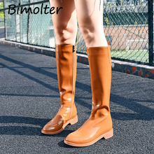 Bimolter Patent Leather Knee Boots Woman Round Toe Square Heel Women Long Black Orange Short plush Spring C013