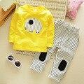 Conjunto de Roupas de bebê Meninos Tracksuits Esporte Terno Calças T-Shirt Dos Desenhos Animados Crianças Meninos Carro Roupas Roupas Das Crianças Conjunto de Roupas